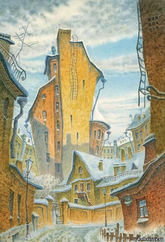 Январьбумага, акварель, 22х15 см., 1997г.Частная коллекция